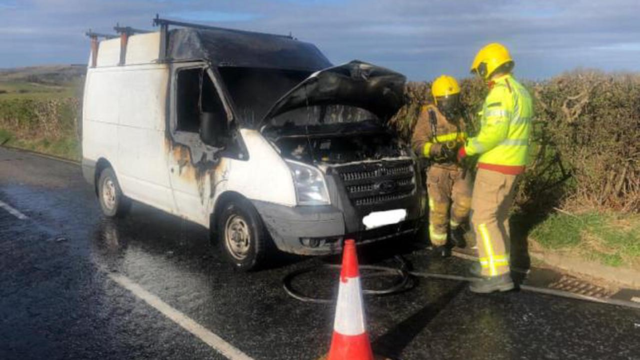 West Cumbrian firefighters called after van bursts into flames