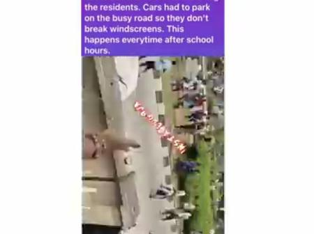 Panic As High School Students Clash Using Bottles And Stones At Surulere, Lagos(Video)