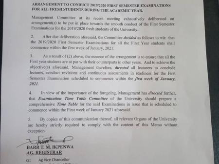 Enugu State University (ESUT) Internal Memo On Exam Time Table