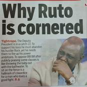 Cornered? Who? Not as You Think My Friends, Ruto Laughs at a Newspaper Headline About Him