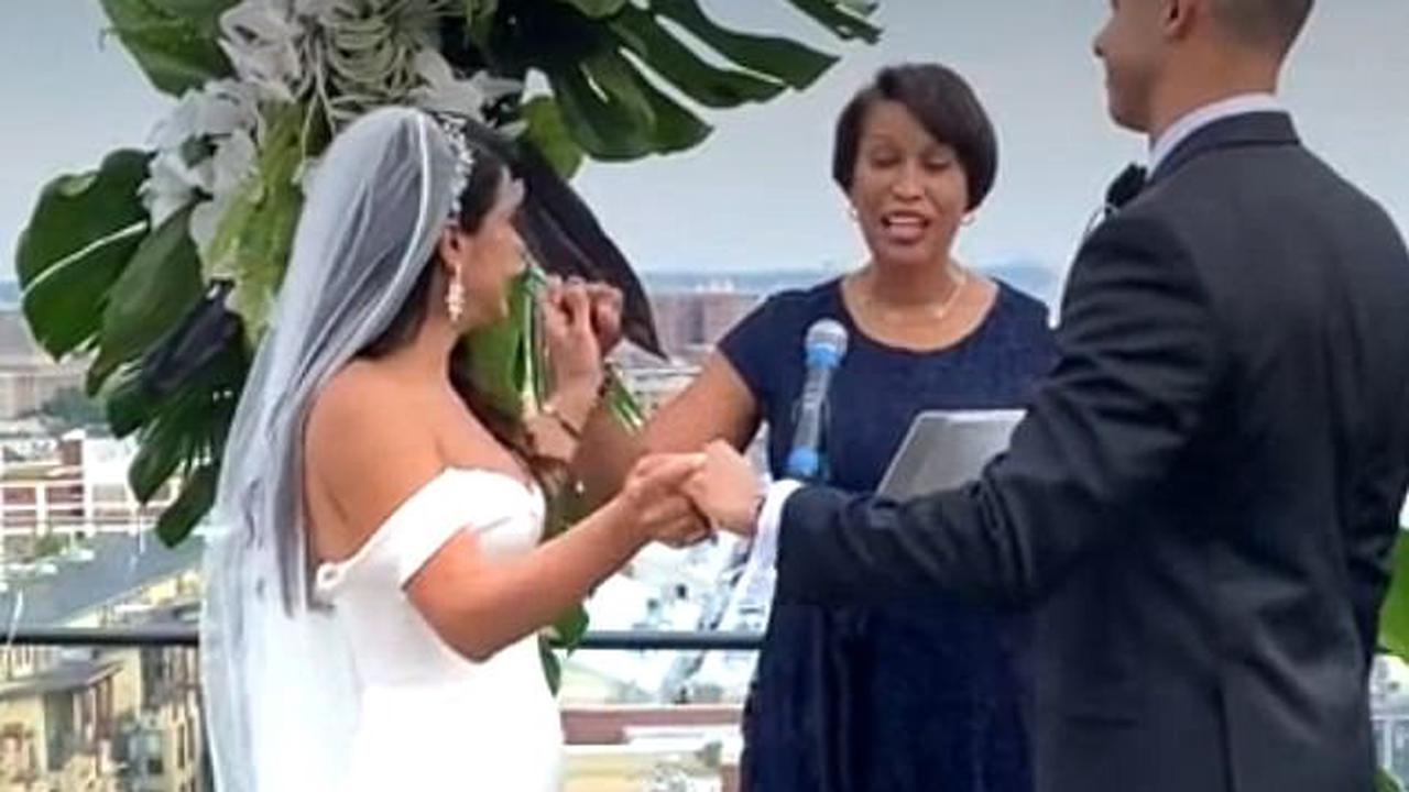 DC Mayor Muriel Bowser is slammed for going maskless at wedding hours after her indoor face covering mandate went back into effect