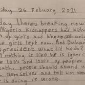 Hours after Gunmen kidnapped over 300 female students, read the letter a 9- years old child wrote.