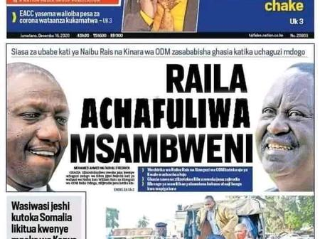 How 'Taifa Leo' depicted Boga's defeat, pitting it as a fight between Raila and Ruto