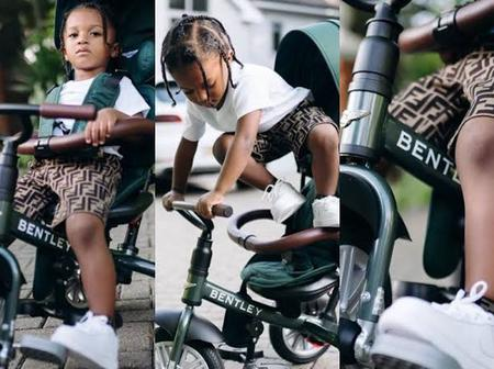 Checkout The Amount Wizkid Bought His Son's Bentley Tricycle (Pictures)