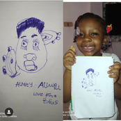 Talented Young Girl Draws Picture of Nollywood Actress, Allwell Ademola With Specific Details
