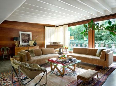 Interiors photos from a mid century modern home owned by an actress