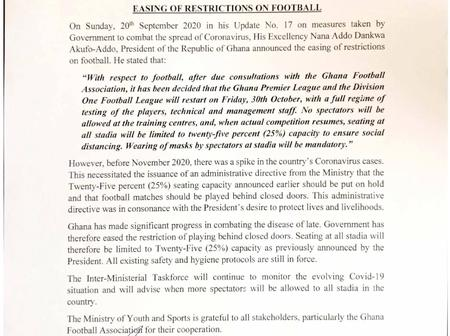 Spectators Can Watch Football At Various Stadia - Sports Ministry Announces