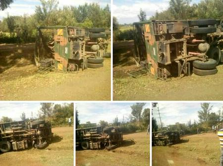 KDF Soldiers Allegedly Escape Unhurt as Lorry Overturns at Kabarak, Nakuru (Photos)