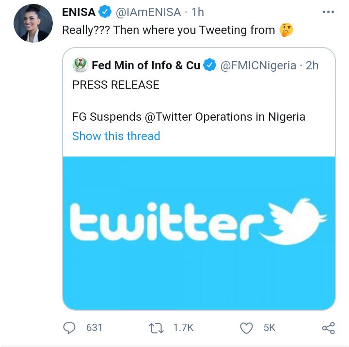 Enisa Nikaj reacts to Twitter ban in Nigeria