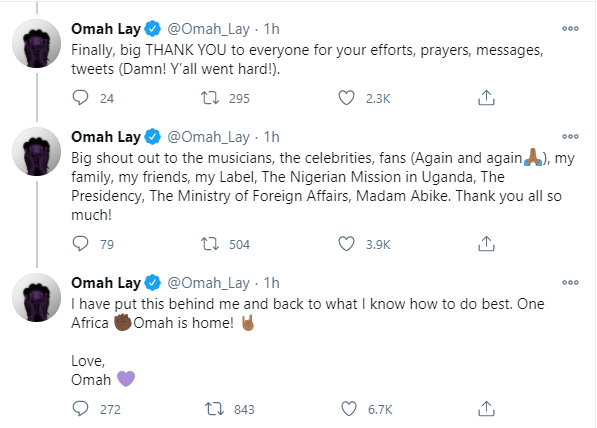 I was treated like a common criminal even after the show promoters confirmed and proved they?d secured all clearances including COVID-19 compliance - Omah Lay writes on his Ugandan experience after arriving Nigeria