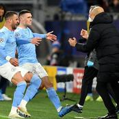 UCL: See What Guardiola Told Phil Foden When He Ran Over To Celebrate His Goal Against Dortmund