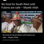 Miyetti Allah blows hot against the south west- says no more food for them until the Fulani are safe