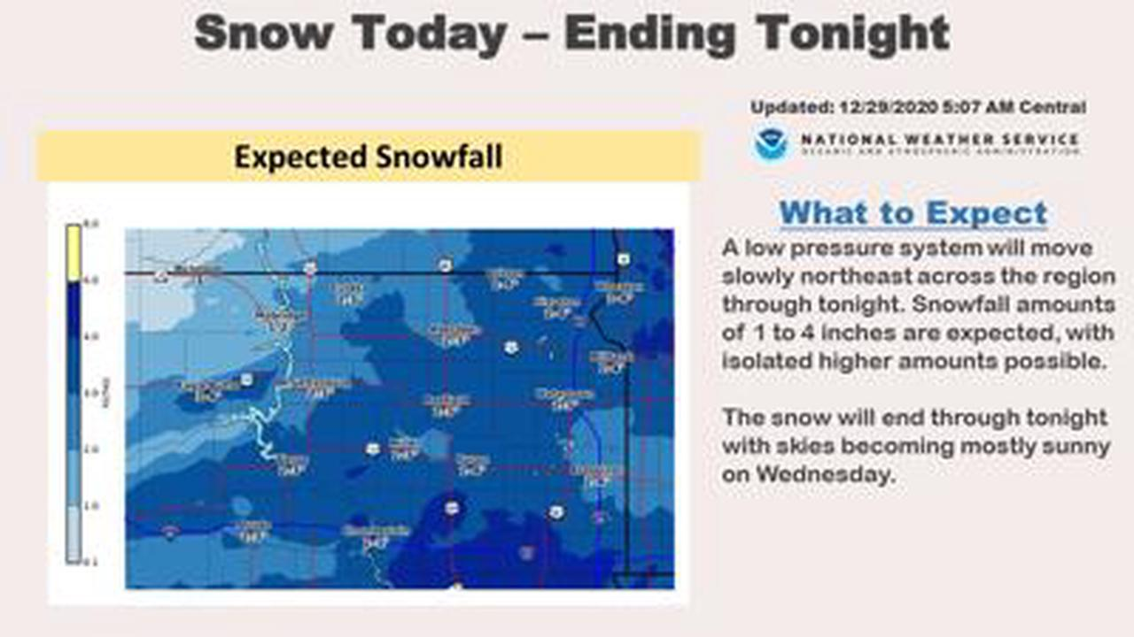 Snow ending this evening, 1 to 3 inches expected