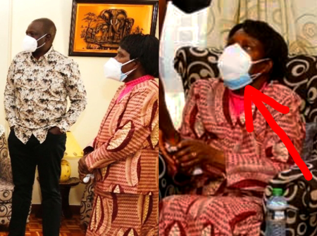 Abraham Kiptanui's Widow And Children Seen Wearing Two Face Masks During DP Ruto's Visit [Photos]
