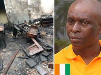 Zahoui François échappe à la mort: son domicile ravagé par un incendie.