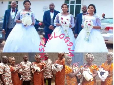 Two sets of triplets who got married on the same day, also welcome babies on the same day