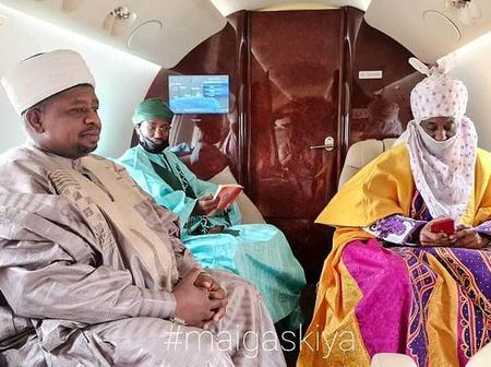 Emir Sanusi Lamido Jets Off From Lagos To Niger Republic In His Cultural Attire