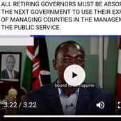 The Retiring Governors Should Be Absorbed By The Government To Use Their Skills Of Managing Counties