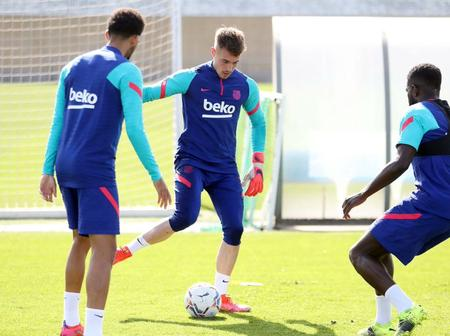 Barca players undergo training session earlier today (See photos)