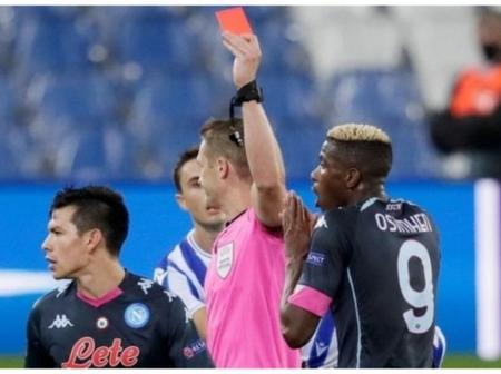 Nigerian Striker Victor Osimhen sees first career red card in Napoli UEL win over Real Sociedad.