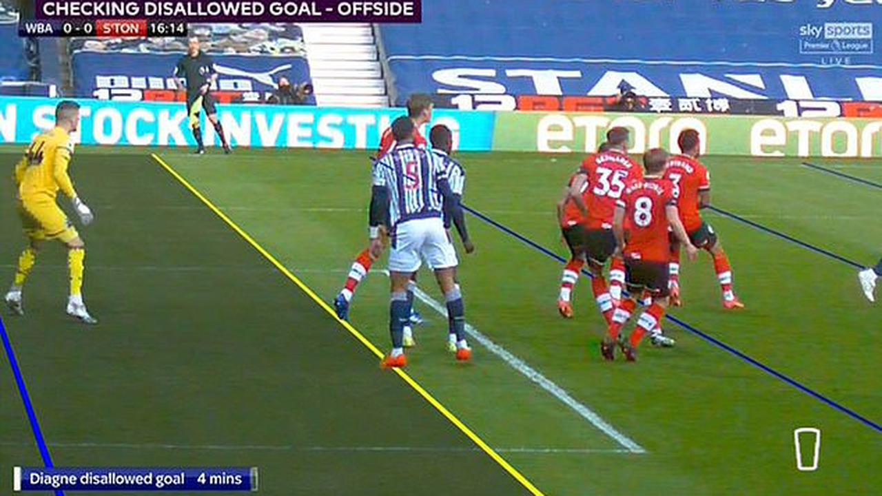 VAR chaos strikes AGAIN as West Brom are bizarrely denied a goal against Southampton due to officials being unable to draw a 'definitive line' through Mbaye Diagne's body... despite striker appearing clearly onside before scoring