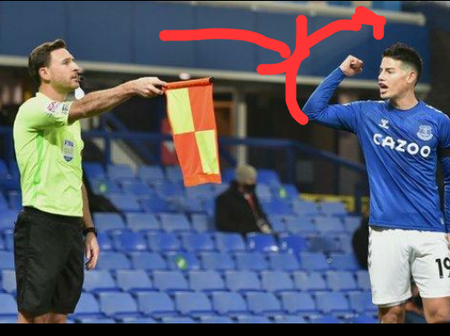 After Everton's 2 goals were ruled out, see what James Rodriguez did to the linesman
