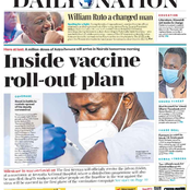 Banks Ends Loan Relief, Ruto's Last Man Standing Ousted Covid19 Vaccination Plan In Today's Newspapers