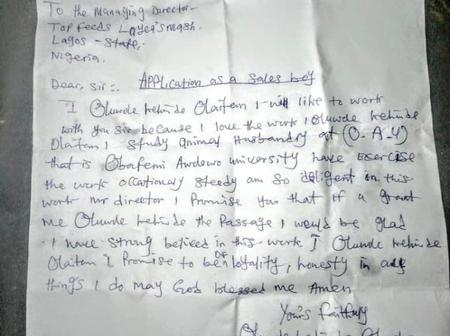 Lady shares an Application Letter written by an OAU graduate seeking Employment.
