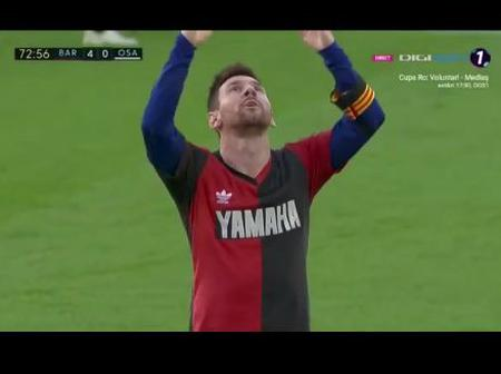 Lionel Messi scores his 3rd league goal in honour of Diego Maradona. See pictures below
