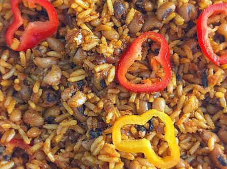 See Delicious Jellof Rice And Beans Combination (Pictures)