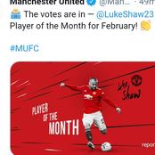 Luke Shaw Voted Man Utd Player Of The Month Ahead Of Bruno Fernandes And Rashford