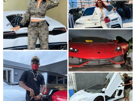 See photos of Regina Daniels, Olamide, Davido, Mercy Eke and others posing with their Lamborghini