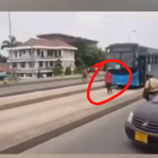 Video Of A Man Walking Slowly Infront Of A Moving Bus Leaves Netizens In Worry