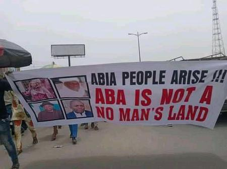 Breaking News: Protest going on in Ahia state against Orji Uzor Kalu and his family