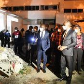 Pierre Dimba visite un bâtiment du CHU de Treichville dont les travaux sont à l'arrêt depuis 2019