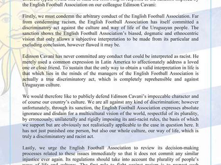 Uruguayan Player Association condemns FA's ban and fine over Cavani