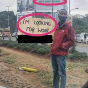 Kenyans Show Support For a Middle aged Man Seen Holding A Job Searching Post