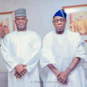 Obasanjo strikes a pose with Yahaya Bello, read what they discussed.