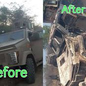 After Boko Haram Killed A Senior Military Officer, See What They Did To The Newly Acquired APC