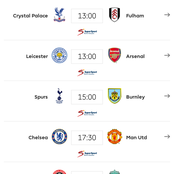 English Premier League Fixtures For Sunday February 28, 2021.