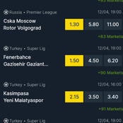 Monday Trending Sportpesa Picks Games On Sevilla, Fenerbahce, CSK Moscow