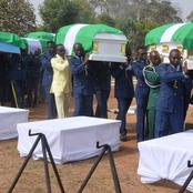 Pictures from the burial of the military officers who died on Sunday