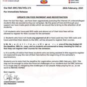 Updates on UCC students Registration before deadline