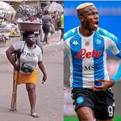 Nigerian Footballer Donates Cash To Disabled Lady Who Was Captured Selling On The Streets