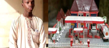 Photos: See The Young Boy Who Constructed A Beautiful Filling Station With a Paper.