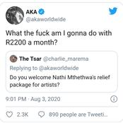 AKA Laughs At R2200 Relief Package For Artists While The Poor Get R350?