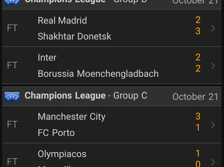 All UEFA Champions League Results For Today, After All Matches Have Been Played