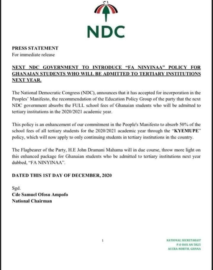 "bb147090e20fae39336e855dda261245?quality=uhq&resize=720 - NDC Introduce ""Fa Ninyinaa"" Policy To Absorb Full School Fees Of Tertiary Students, Ghanaian React"