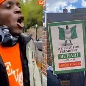 Anti-Huhari Protesters Seen Calling Pro-Buhari Protesters Thieves At Abuja House In London (Video)