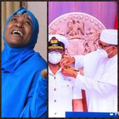 Aisha Yesufu blows Hot as she mocks President Buhari after he decorated the new service chiefs